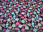 25 Yards Quilt Cotton Fabric Benartex Home for the Holidays Ornaments on Black