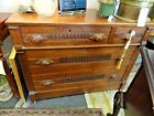 Antique Walnut Chest with Carved Handles and 4 Drawers with Key
