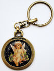 Michal Negrin Putto Cherub Roses Flowers Floral Cameo Keychain Keyring Key Ring
