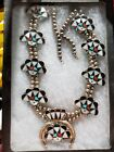 Squash Blossom Zuni Inlay huge big Turquoise Pearl signed Vintage Native