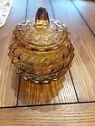 VINTAGE AMBER GLASS COVERED CANDY DISH/BOWL WITH LID...VERY OLD 5