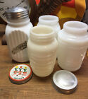 Lot of 4 Vintage Mid Century Milk Glass Salt Pepper Shakers Tulip Anchor Hocking