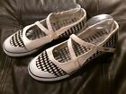Skechers Cali Black White checker Flat Casual Straps Sz 11 Sneakers shoes t338