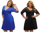 2018 New Women's V-Neck Plus Size Evening Bridesmaid Sexy Over size Dress #34