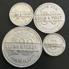 4 Quinn & Terry Kewanee, Illinois, Henry County  Trade Tokens IL Good For ILL