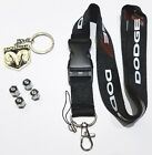 Dodge Lanyard + Metal Keychain + Stem Valve Caps - Charger Challenger Ram