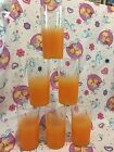 6 Vintage Mid Century Modern Blendo Orange Frosted Gold Rimmed Drinking Glasses