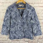 Chicos Womens Shirt Jacket Sz 1 Floral Buttone Front Blue Silver 3/4 Sleeve