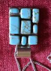 silver and turquoise square oendant on silver chain