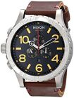 Nixon 51-30 Black Dial Chronograph Date Brown Leather Band Men's Watch A124-019