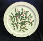 Lenox Holly with Red Berries Round Christmas Platter 24K Gold Trim