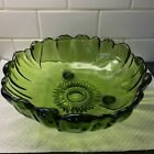 Vintage Indiana Colony Glass Green Serving Bowl Sunflower Petals Collection