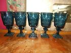 VINTAGE Indiana Glass Midnight Blue MT VERNON juice sherry claret wine glasses