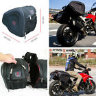 Pair of Motorcycle Black Luggage Saddle Bags with Rain Cover 36-58L Quality