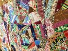 vtg all silks crazy quilt top ready to finish very old
