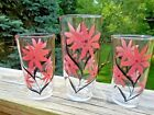 Vtg Hazel Atlas (3) Glasses with Pink Flowers and Black Stems -- Never Used!