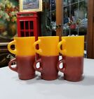 6 VTG Fire King Ware Stacking C Handle Coffee Mugs Brown Yellow Anchor Hocking
