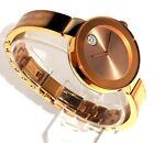 MOVADO BOLD $595 WOMEN'S ROSE GOLD SS & CRYSTALS BANGLE SWISS WATCH 3600202