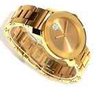 MOVADO $695 WOMENS GOLD SS & CRYSTALS MUSEUM DOT BOLD SERIES SWISS WATCH 3600104
