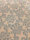 Vtg 50s Textured Wall Paper Covering Baby Blue Floral Damask Design
