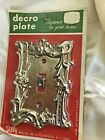 Vintage Dilly Mfg. Single Toggle Switch Plate Embossed Brass Metal NOS