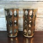 2 Green Gold Crackle Pisa Culver Glasses Water Highball Mid Century Tumblers Vtg