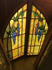 SG 2338 match Pair painted in fired stained glass arch top wisteria windows 24
