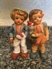 GORGEOUS VINTAGE BOY  GIRL LARGE SALT  PEPPER SHAKERS JAPAN 6 1 2 INCHES TALL