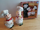 Salt and Pepper Shaker Set Hug the Chef Kiss the Cook Man Woman Couple