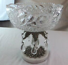 VINTAGE CRYSTAL CANDY FRUIT BOWL  MID CENTURY MARBLE BASE WITH BLOSSOMS