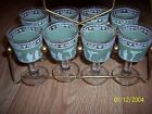 8 Vintage Hellenic Jeanette Green Wine/Port  Glasses Greek Rome with carrier