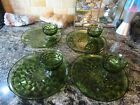 Vintage Olive Green Glass Colony Whitehall 8 Pc Snack Set Plates Cups