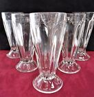 Vintage Set of 6 Jeanette Soda Fountain Milk Shake Ribbed Heavy Base Glasses