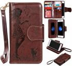 Brown cute girl 9 cards Multifunctional wallet Leather Cover with strap fr phone