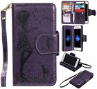 Purple cute girl 9 cards Multifunctional wallet Leather Cover with strap f phone