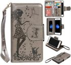 Gray cute girl 9 cards Multifunctional wallet Leather Cover with strap for phone