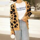 Women AII-Purpose Knitted Open Stitch Leopard Print Cardigans Long Sleeve Sweate
