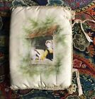 Antique Victorian Hand Painted Woman Doing Needlework~Padded Cover for Book or ?