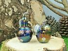 Neo Art Glass handmade purple apple  pear paperweight sculptures by KHeaton