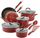 Rachael Ray Cucina 12 Piece Cranberry Red Enamel Nonstick Cookware Set with Lids