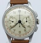 VINTAGE 1940's Lusserna Mens 35mm Steel Chronograph Watch ORIGINAL Lemania CH27