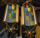 2 MID CENTURY MODERN HANGING SWAG PENDANT LIGHT LAMP BRASS STAINED TIFFANY GLASS