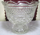 Vintage Clear Glass Anchor Hocking Wexford Scalloped Rim Compote Trifle Bowl 8