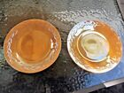 Vtg (2) Fire King Peach Lustre Dinner Plates 9