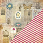 25p Scrapbook Paper 12 Bazzill Floral Collage Butterfly Rose White Rabbit Cage