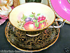 GOLD CHINTZ PAINTED FRUITS TEACUP WIDE MOUTH