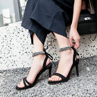 Womens Rivet Stilettos Lace Up Sandals Shose High Heels Open Toe Strappy Pumps