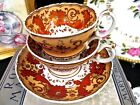 ANTIQUE RIDGWAY TEA CUP AND SAUCER TRIO 1840's painted rust gold CUP