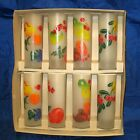 8 VINTAGE FEDERAL FROSTED COLORFUL FRUIT COCKTAIL TEA PARTY GLASSES NEVER USED