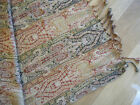 Antique Victorian Loomed Jacquard w/ Fringe Throw Shawl or Tablecloth